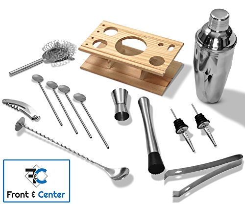 Front & Center Premium 14 Piece Stainless Steel Bartender Cocktail Set - Base, 750mL Shaker, Strainer, Muddler, Pourers, Stirrer, Corkscrew, Double Jigger, Tongs | Complete End to End Bar Kit by Front & Center