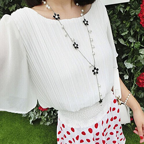 Meenanoom Fashion Women Long Chain Five Petals Flowers Imitation Pearl Sweater Necklace