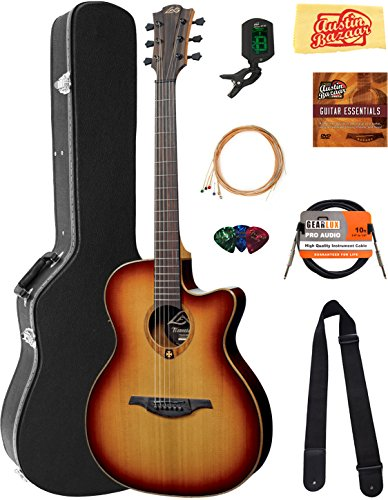 Lag T100ASCEBRS Tramontane Slimline Auditorium Cutaway Acoustic-Electric Guitar - Brown Shadow Sunburst Bundle with Hard Case, Cable, Tuner, Strings, Picks, Instructional DVD, and Polishing Cloth