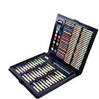 Han cheng he Artist Watercolor Brush Pens Set 160 Pieces of Mixed Media Art Set, Wooden Case, Soft Oil Painting, Acrylic and Watercolor Paint, Sketch, Charcoal and Colored Pencils, Ruler