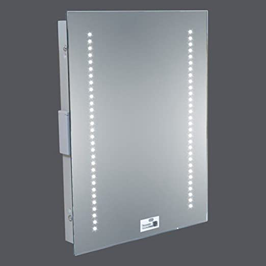 LED Illuminated Bathroom Mirror 500 X 390mm IP44 Rated With On Off Infra Red Sensor Demister Pad And Shaver Socket Amazoncouk Kitchen Home