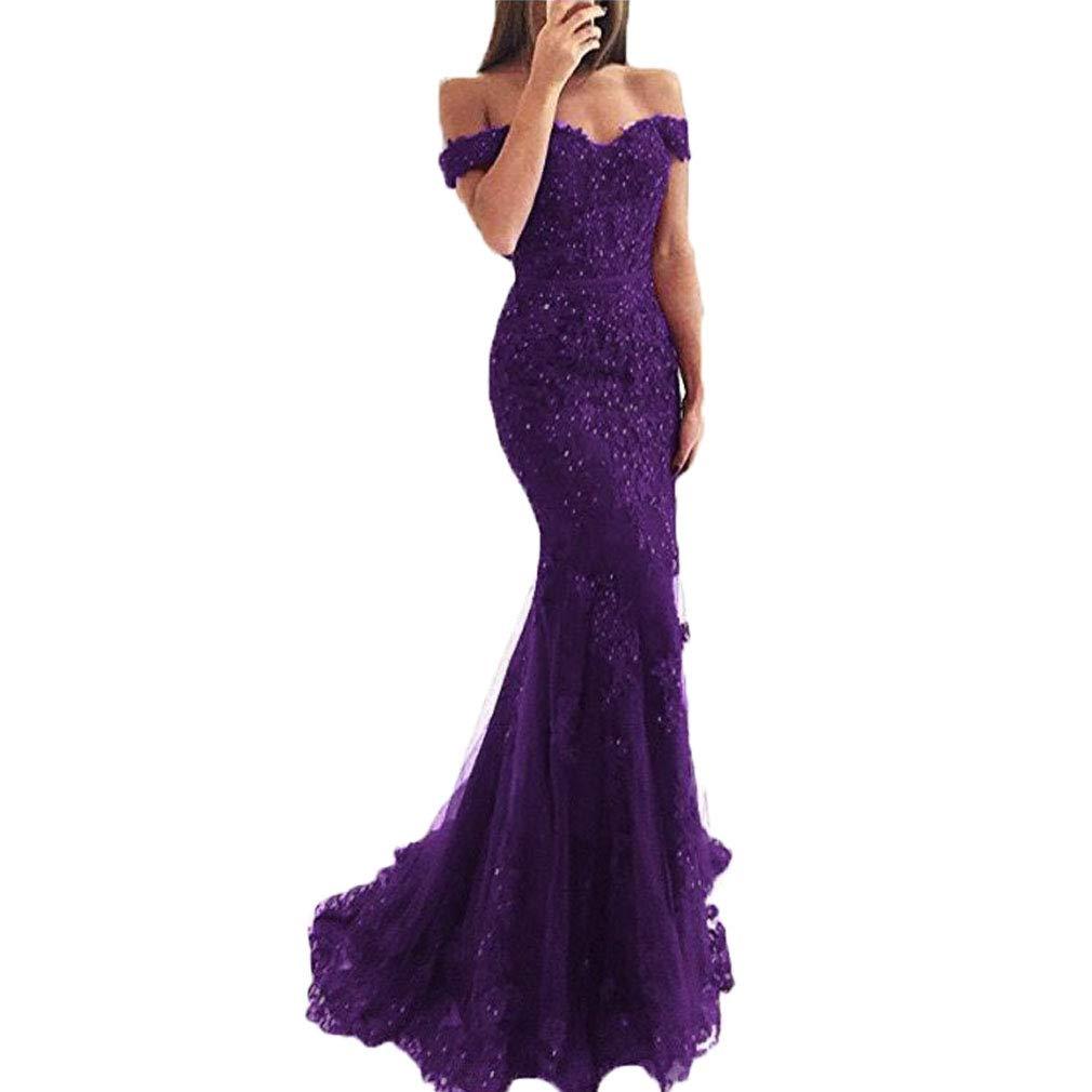 Grape Fashionbride Women's Long Prom Dress Beaded Lace Off The Shoulder Mermaid Formal Dresses ED110