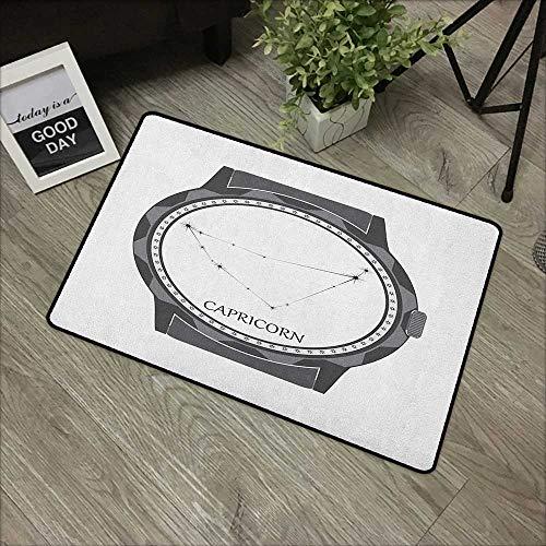- Bathroom mat W19 x L31 INCH Zodiac Capricorn,Greyscale Watch Dial Design with Horoscope Constellation Motif, Grey Charcoal Grey Non-Slip Door Mat Carpet