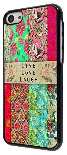 583 - Shabby Chic Vintage Live Love Laugh Floral Roses Design iphone 5C Coque Fashion Trend Case Coque Protection Cover plastique et métal - Noir