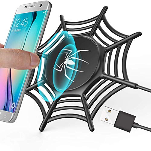 GreatCool Anti-Slip Spider Net Wireless Charger,10W Fast Wireless Charging Pad Stand for iPhone X/8/8 Plus Samsung Galaxy S9/S9 Plus Note 8/5 S8/S8 Plus S7/S7 Edge S6 Edge Plus (Black)