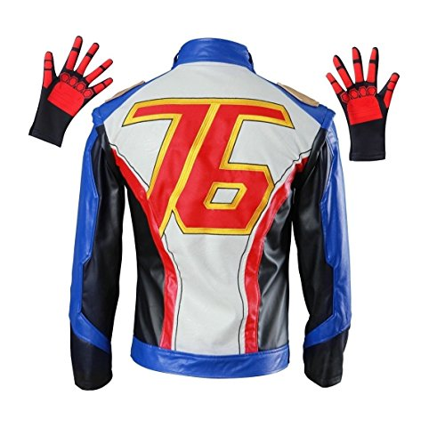 OURCOSPLAY Embroidered PU Leather Soldier 76 Cosplay Jacket and Gloves (Men -