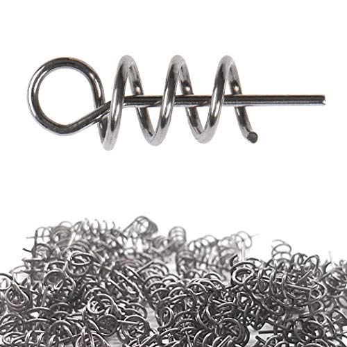 Aoyoho 200pcs Soft Lure Bait Spring Twist Lock Outdoor Fishing Crank Hook Centering Pin for Soft Lure Bait Worm Crank ()