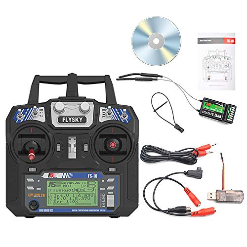 (Goolsky Flysky FS-i6 Remote Controller Transmitter 2.4G 6CH with iA6B Receiver RC Flight Simulator Wireless for Fixed-Wing Glider Helicopter Mode 2)
