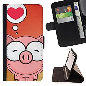 Cute Pig Love - Painting Art Smile Face Style Design PU Leather Flip Stand Case Cover FOR Samsung Galaxy S5 Mini, SM-G800 @ The Smurfs