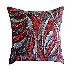 Sequins Embellished Silk Pillowcase with Zipper