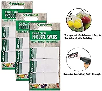 Reusable Mesh Produce Sacks by EarthWise Pack x 9 uds: Amazon.es ...