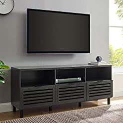 Living Room Walker Edison Modern Wood TV Stand with Slat Doors for TV's up to 65″ Flat Screen Living Room Storage Cabinet Doors and Shelves Entertainment Center, 58 Inch, Graphite modern tv stands