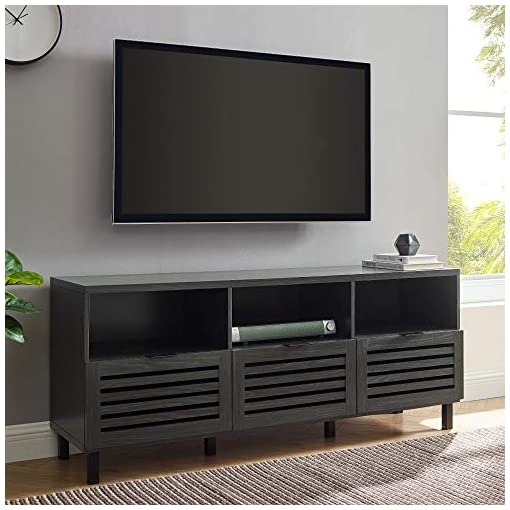 Living Room Walker Edison Modern Wood Stand with Slat TV's up to 65″ Flat Screen Living Room Storage Cabinet Doors and Shelves Entertainment Center, 58 Inch, Graphite modern tv stands