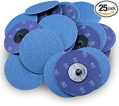 "2/"" 80 Grit A//O Quick Change Sanding Disc Black Hawk 25 Pack Type R Roloc"