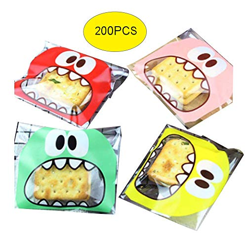 Efivs Arts 200 PCS Cookie Biscuit Candy Bags Little Monster Self Adhesive Cookie Bakery Decorating Bags Roasting Treat Gift DIY Bag,Red&Green&Yellow&Pink (Green) for Easter -