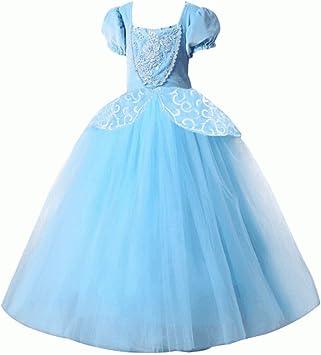 Lujoso disfraz de Cenicienta para niña, color azul, azul: Amazon ...