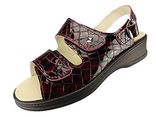 Algemare Damen Sandalette superweit Lackleder Keilpantolette mit Algen-Kork Wechselfußbett Made in Germany 4478_5117, Größe:36