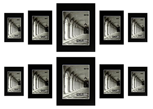 Studio 500, Glam Sleek Assortment 10 Piece Black Frame Set,