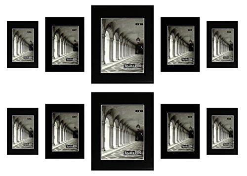 Studio 500, Glam Sleek Assortment 10 Piece Black Frame Set, Two-8x10's, Four-5x7's, Four-4x6's, Table Top/Wall (Assortment Four)