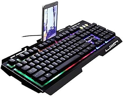 Trissem Golden and Black G700 Wired Keyboard Laptop Mechanical Keyboard Feel Metal Shiny Mobile Phone Bracket Game Keyboard Color : Black