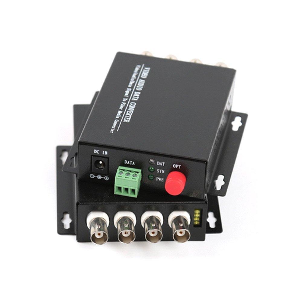Guantai 4 Channel Digital Video Data Fiber Optic Optical Media Converters with RS485 Data,Singlemode Fiber Up 20Km for CCTV Cameras Surveillance Security System