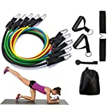 Resistance Band Set With Handles Include 5 Adjustable Exercise Bands, Door Anchor, Ankle Straps for Resistance Training, Physical Therapy, Home Workouts with Carrying Bag