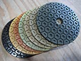 "7"" Diamond Polishing Pad abrasive disc 3 Pieces of Grit 30 for natural stone engineered stone concrete terrazzo granite marble masonry fabrication restoration grinding use with grinder wet polisher -  Diamond Abrasive and Power Tools"