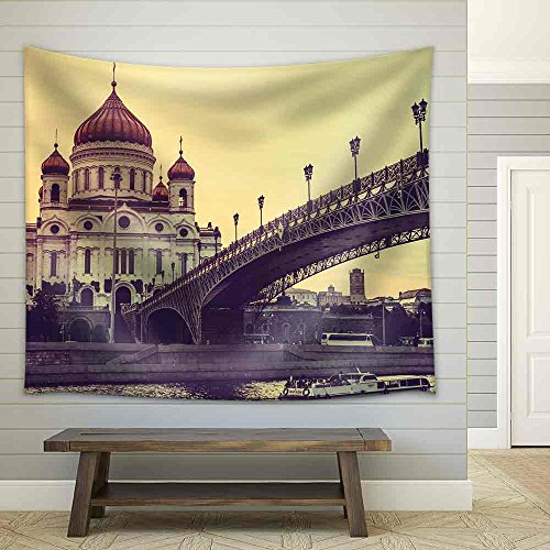Cathedral of Christ The Saviour Russia Moscow Toned Picture Fabric Wall