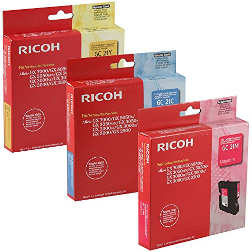 Aficio Gx3000 Inkjet Printer - Ricoh 405533, 405534, 405535 Standard Yield Ink Set Colors Only (C/M/Y)