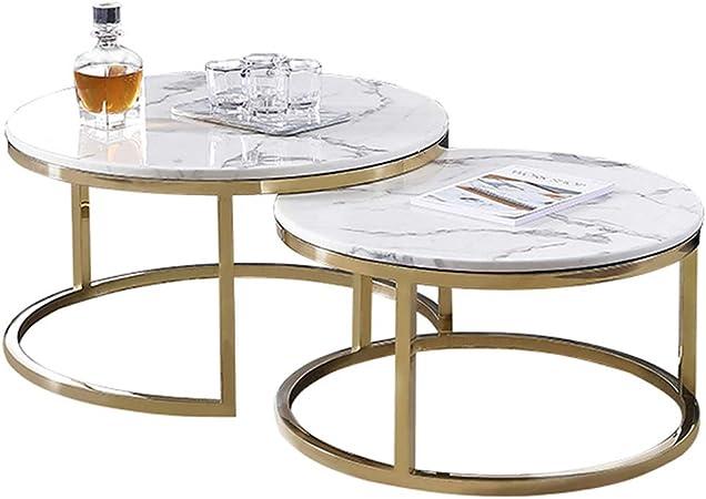 Table Basse Ronde Tables Gigognes En Marbre Blanc Ensemble De 2
