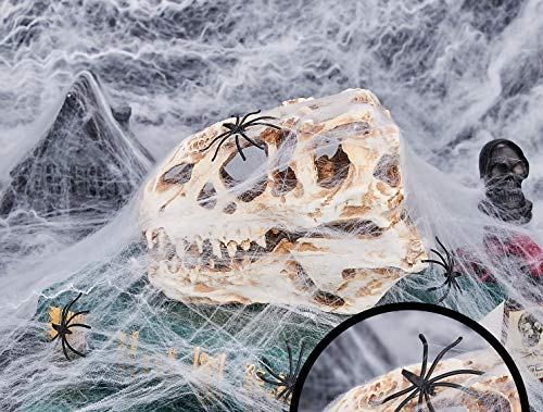 Halloween Stretch lights Spooky White Spider Web Cobweb Webbing 3.53oz Decorations .Covered 330sqft with 30pcs Black Fake Spiders for Indoor, Outdoor, chair, window, door.]()