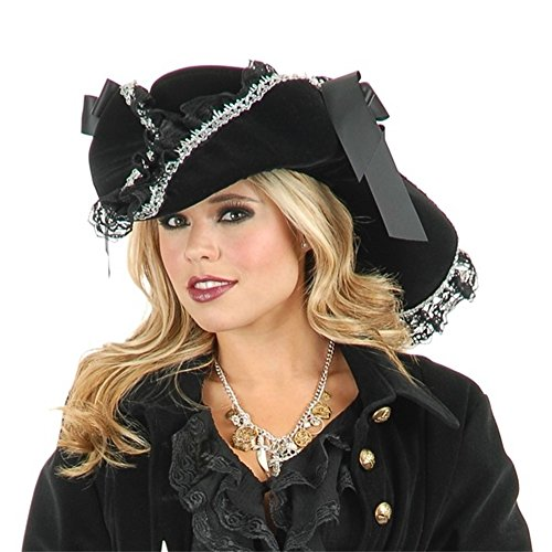 [Charades Women's Lacey Ladies Costume Hat, Black/Silver, One Size] (Ladies Black Pirate Costume)