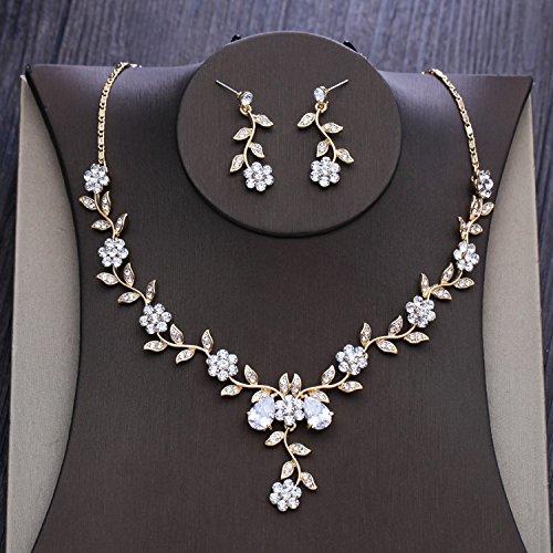 GTVERNH The Bride Wedding Gold Diamond Flower Pendant Necklace Set Wedding Wedding - Pendant Mini Blossom