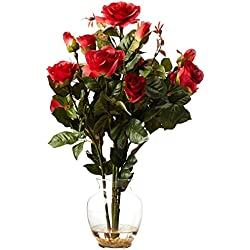 Nearly Natural Rose Bush with Vase Silk Flower Arrangement, Valentine's Day Gift Red