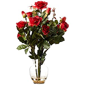 Nearly Natural 1281-RD Rose Bush with Vase Silk Flower Arrangement, Red 108