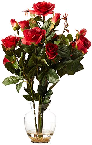 (Nearly Natural 1281-RD Rose Bush with Vase Silk Flower Arrangement, Red)