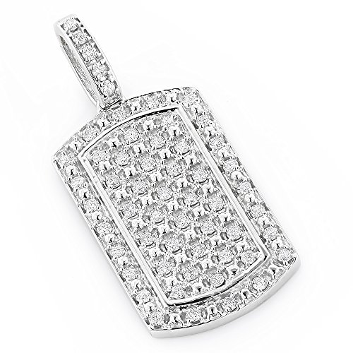 Luxurman Unique Designer 14k Mini Natural Diamond Dog Tag Pendant (White - White Diamond Gold Flower Pendant