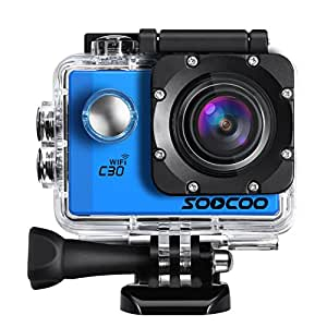Sports Camera, SOOCOO C30 4K Action Camera 20MP 2.0 Inch Waterproof Diving Camera with 2 Batteries and 18 Accessories Kit Included - Blue + Wifi (Micro SD Card Not Included)