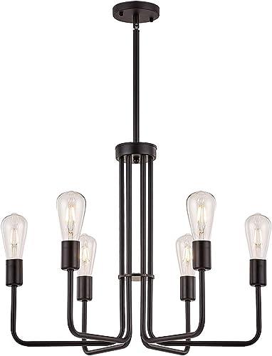 LUMAIXUN Chandelier Lighting 6 Light Sputnik Chandeliers Black Celing Hanging Light Fixure Famhouse Pendant Light