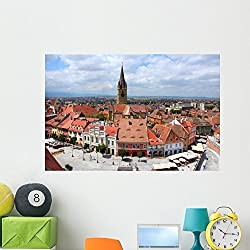 Sibiu Old Town Wall Mural by Wallmonkeys Peel and Stick Graphic (48 in W x 32 in H) WM135265