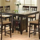 BOWERY HILL Counter Height Square Dining Table with Wine Storage Base and Integrated Lazy Susan in Cappuccino