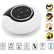 Bluetooth Speaker Night Light, Smart Touch Sensor Bedside Lamp Dimmable Warm Light, Wireless Speaker with Color Changing Light, MP3 Music Player for Kids and Adult, Party, Bedroom, Reading, Outdoor