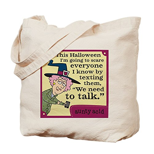 CafePress Aunty Acid: Halloween Text Natural Canvas Tote Bag, Cloth Shopping Bag