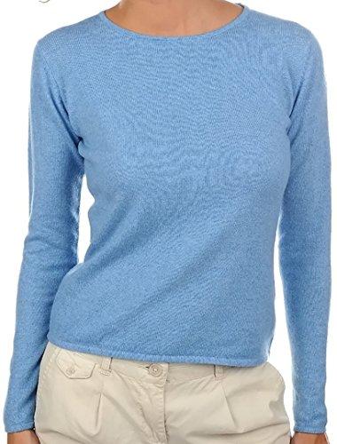 Balldiri 100% Cashmere Kaschmir Damen Pullover Rundhals 2-fädig azurblau L