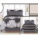 8 Pcs Bed in a Bag Reversible Spring Floral Comforter Skirt Sheet Sham Set, Queen