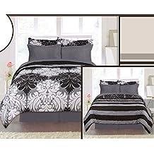 8 Piece Bed in a Bag Reversible Floral Comforter Skirt Sheet Sham Set, Queen