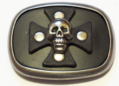 (Genuine Black Leather Iron Cross with Crom Skull Head Belt Buckle)