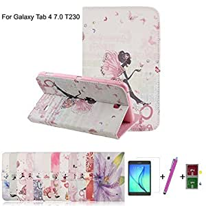 Multi Function Samsung Galaxy Tab 4 7.0 SM-T230 Case,HotsaleUK High Quality PU Leather Smart Flip Stand Safety Case Cover,Fashion Butterfly Flower Girl Rhinestone Diamond Bling Design Protective Case Cover for Samsung Galaxy Tab 4 7.0 inch SM-T230 T231 T235 Tablet + Free Screen Protector + Free Stylus Pen + Free Microfiber Cleaning Cloth.(Letter Girl) by HOTSALEUK
