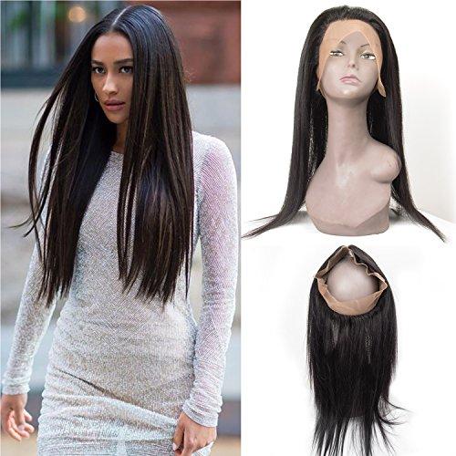 360 Lace Frontal 14 inch 100% Unprocessed Virgin Hair Brazilian Human Hair Or Malaysian Human Hair Natural Black Straight Hair By Lovenea (14'')