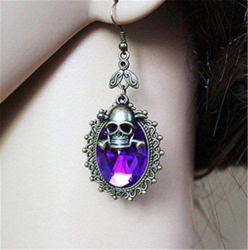 Pavian Gothic retro skull diamond hanging earrings for